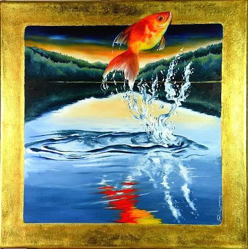 Joerg Peter Hamann, Jumping Harry, Landscapes: Sea/Ocean, Animals: Water, Naturalism, Expressionism