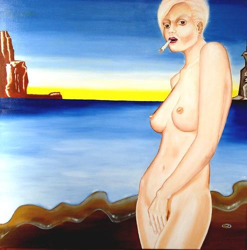 Joerg Peter Hamann, A Joint at the Beach, Erotic motifs: Female nudes, Landscapes: Sea/Ocean, Post-Surrealism