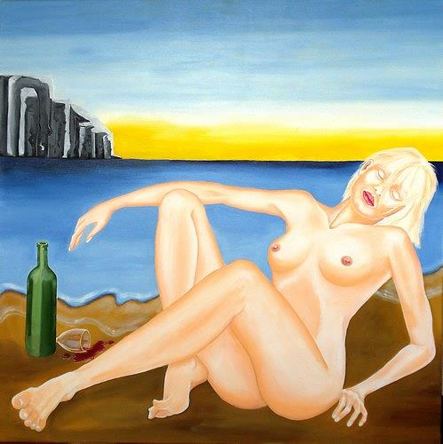 Joerg Peter Hamann, Deep Sleep, Erotic motifs: Female nudes, Landscapes: Sea/Ocean, Post-Surrealism, Contemporary Art