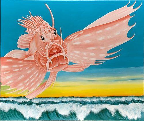 Joerg Peter Hamann, Die Rückkehr der Rotfeuerfische, Landscapes: Sea/Ocean, Nature: Water, Post-Surrealism, Contemporary Art
