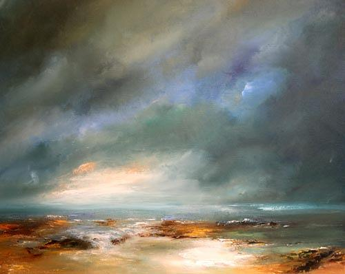 Petra Ackermann, Stormy Skies, Landscapes: Sea/Ocean, Contemporary Art, Expressionism
