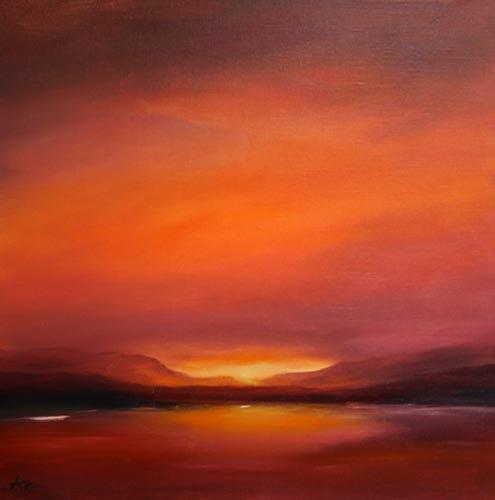 Petra Ackermann, Nightfall at Lake Abiquiu, Landscapes: Sea/Ocean, Landscapes: Mountains, Contemporary Art, Expressionism