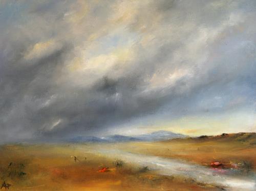 Petra Ackermann, A Rainy Day, Landscapes: Plains, Landscapes: Mountains, Contemporary Art, Expressionism