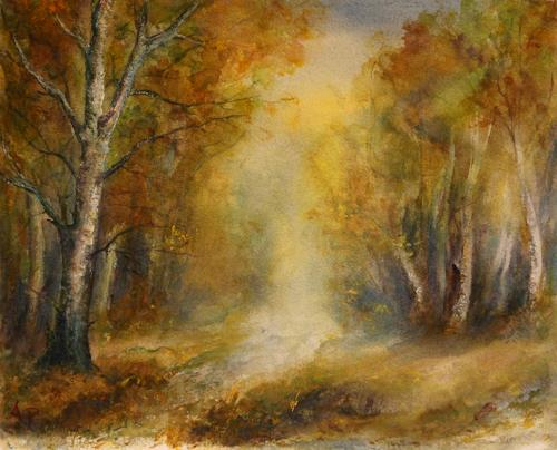 Petra Ackermann, Herbst, Landscapes: Autumn, Nature: Wood, Contemporary Art, Expressionism