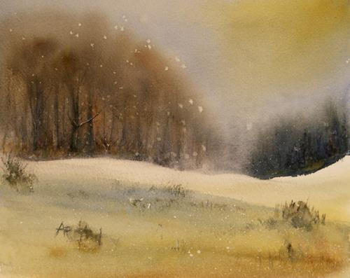 Petra Ackermann, A Wintry Day, Landscapes: Winter, Nature: Wood, Contemporary Art