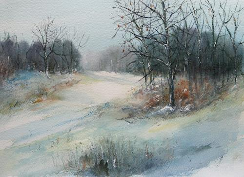 Petra Ackermann, Wintertime  2, Landscapes: Winter, Nature: Wood, Contemporary Art, Expressionism