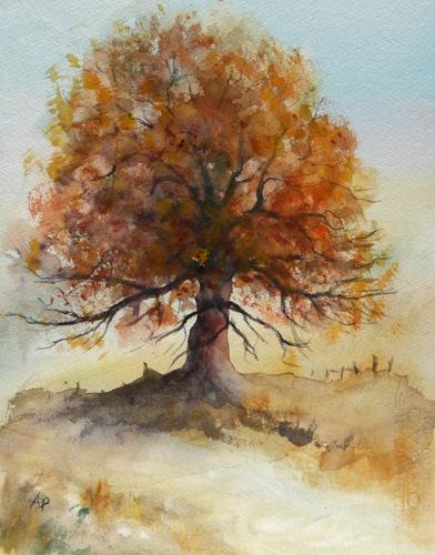 Petra Ackermann, Oak Tree 1, Plants: Trees, Landscapes: Autumn, Contemporary Art