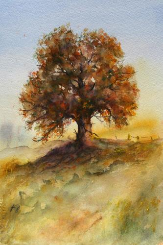 Petra Ackermann, Oak Tree  2, Plants: Trees, Landscapes: Autumn, Contemporary Art