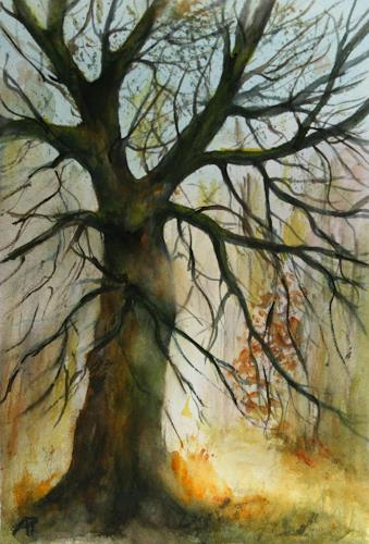 Petra Ackermann, Baum Sudie 2, Plants: Trees, Nature: Wood, Contemporary Art, Expressionism