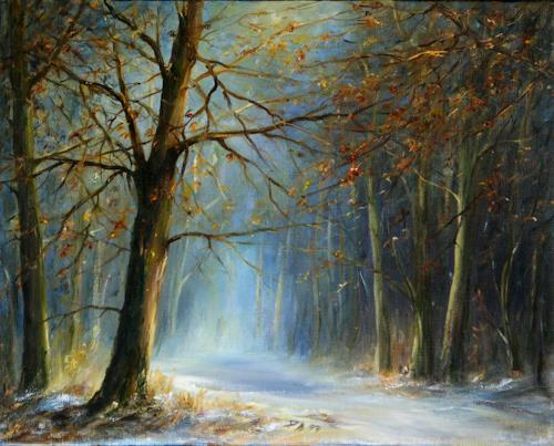 Petra Ackermann, Winter Magic, Landscapes: Winter, Nature: Wood, Contemporary Art, Expressionism