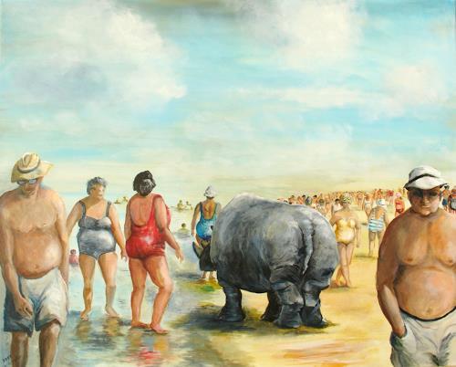 Helga Anders-Faber, Strandspaziergang, Fantasy, Society, Realism, Abstract Expressionism