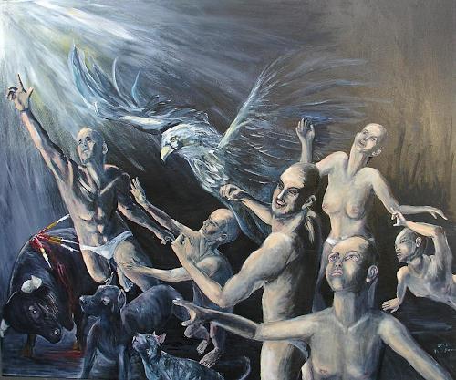 Helga Anders-Faber, Aufstand der gemarterten Seelen 3, Miscellaneous Emotions, Fantasy, Contemporary Art, Abstract Expressionism