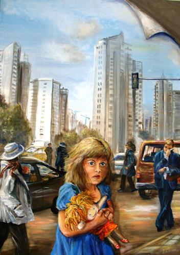 Helga Anders-Faber, wohin (adonde), People: Children, Buildings: Skyscrapers, Realism