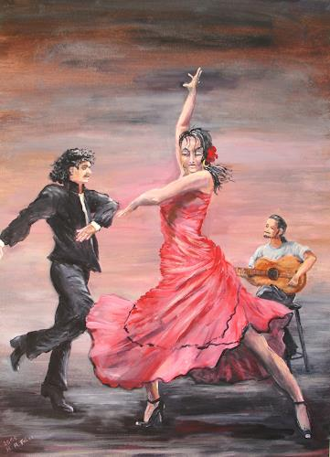 Helga Anders-Faber, Flamencogruppe, People: Group, Movement, Contemporary Art