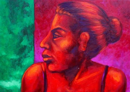 Anne Radstaak, red girl, People: Women, Neo-Expressionism
