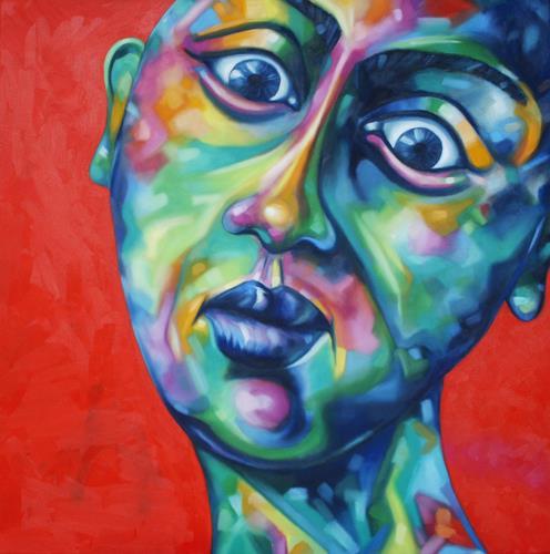Anne Radstaak, Nicht jede Sonnencreme hält, was sie verspricht., People: Faces, Emotions: Grief, Neo-Expressionism, Abstract Expressionism