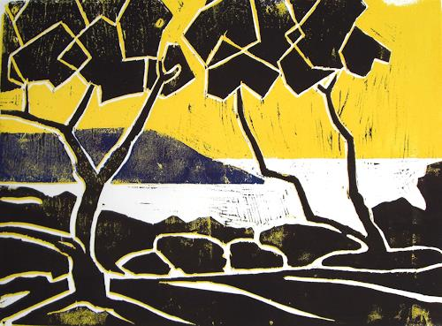 Manfred Riffel, Ufer, Landscapes: Beaches, Neo-Expressionism, Expressionism