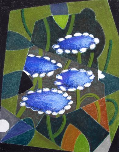 Manfred Riffel, Samthortensia, Plants: Flowers, Neo-Impressionism