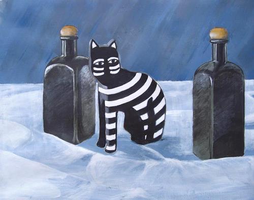 Manfred Riffel, mit Katze, Burlesque, Contemporary Art