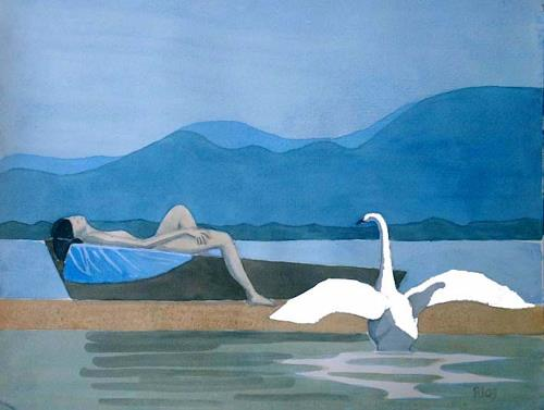 Manfred Riffel, Leda vom Chiemsee, People, Landscapes, Contemporary Art