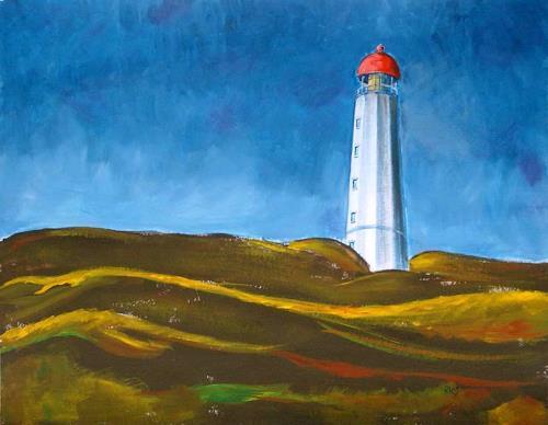 Manfred Riffel, Leuchtturm auf Hiddensee, Landscapes, Contemporary Art