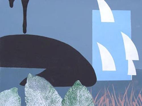 Manfred Riffel, Chiemsee - symbolische Darstellung der zunehmenden Verschmutzung durch die Tiroler Ache, Landscapes, Fantasy, Abstract Art