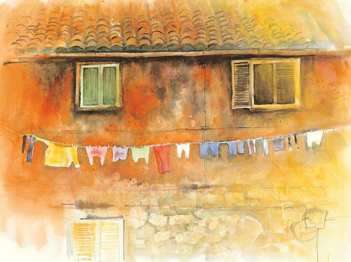 aquafunck, Waschtag in Terracina, Miscellaneous, Contemporary Art, Expressionism