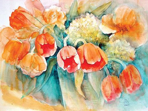 Frühlingsstrauß frühlingsstrauß by eckard funck plants flowers painting