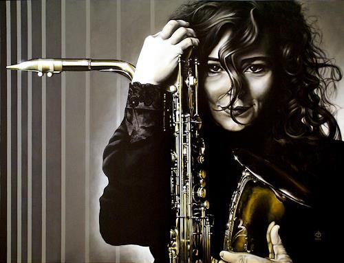 Andreas Baumann, Frau mit Saxofon, People: Women, Music: Musicians, Realism, Expressionism