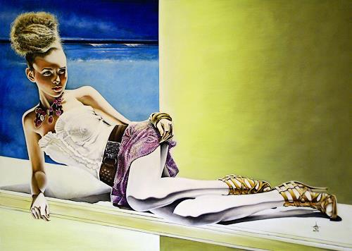 Andreas Baumann, Girl in the summer sun, People: Women, Realism, Expressionism