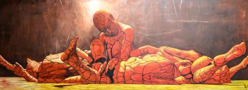 "Michael Külbel, Der Rohstoff Mensch"" 150x50 cm, Society, Modern Age, Abstract Expressionism"