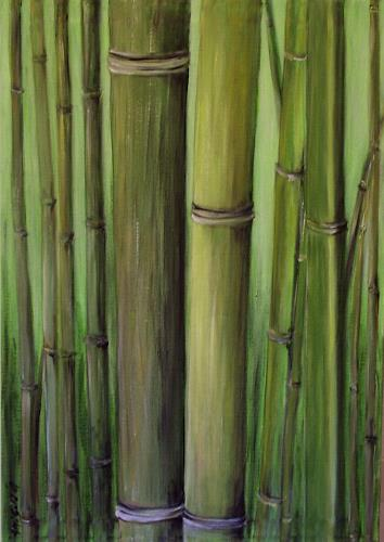 Amigold, Bamboo I, Miscellaneous Plants, Abstract Art