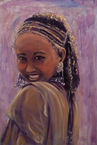 Amigold, Girl from the Aromo Tribe of Ethiopia, People: Portraits, Impressionism