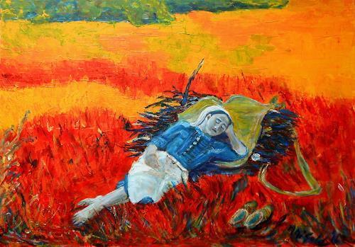 Amigold, Die Holzsammlerin, People: Women, Landscapes, Abstract Art