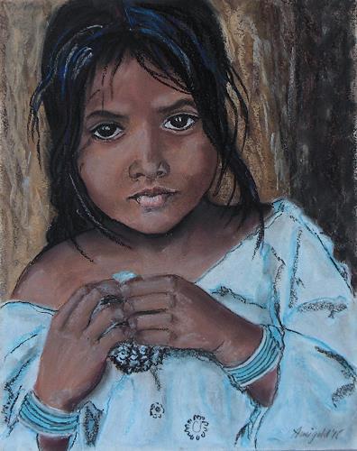 Amigold, Tamilmädchen, People: Portraits, People: Children, Expressionism