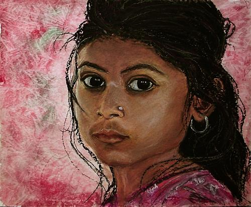 Amigold, Indian-girl, People: Portraits, Expressionism