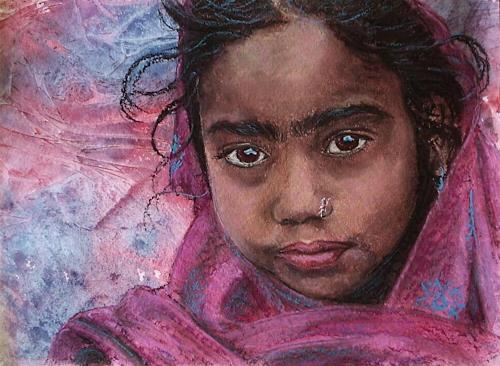 Amigold, Indian girl II, People: Portraits, Expressionism