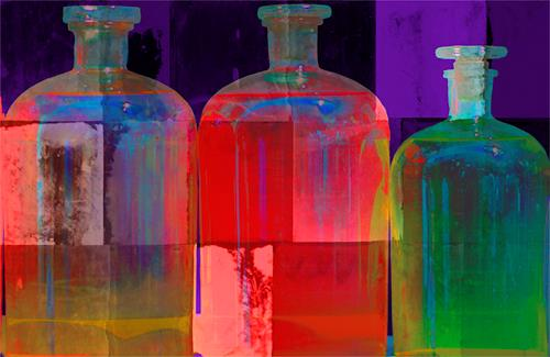 Miriam Stone, bottles ii, Interiors: Rooms, Still life, Contemporary Art, Expressionism