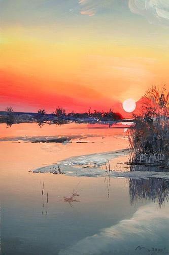 Valeriy Grachov, Sonnenuntergang auf dem Dnepr, Miscellaneous Landscapes, Romantic motifs: Sunset, Realism, Expressionism