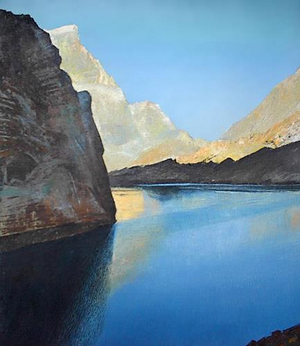 Valeriy Grachov, Fann Berge. Ein großer See Alo., Landscapes: Mountains, Miscellaneous Landscapes, Realism, Expressionism