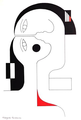 Hildegarde Handsaeme, Rouge-Coeur, People: Couples, Abstract art, Constructivism, Abstract Expressionism