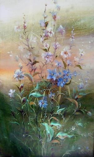 Natalia Rudsina, Blau Blumen, Plants: Flowers, Nature: Miscellaneous, Expressionism
