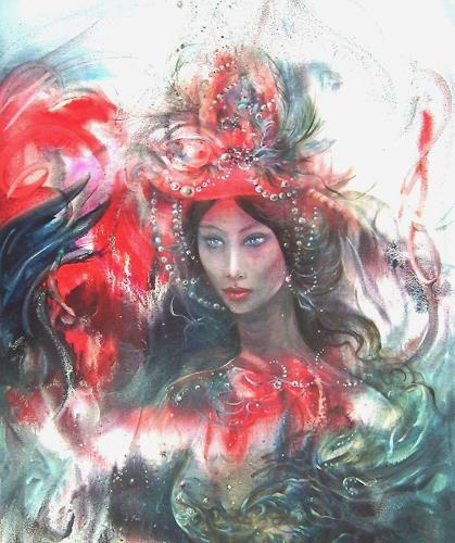 Natalia Rudsina, Die Dame im roten Hut, Carnival, People: Women, Expressionism