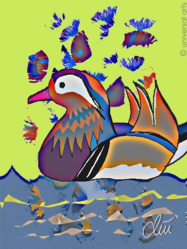 universal arts Jacqueline Ditt & Mario Strack, Mandarinente von Jacqueline Ditt, Animals: Water, Miscellaneous Animals, Expressionism