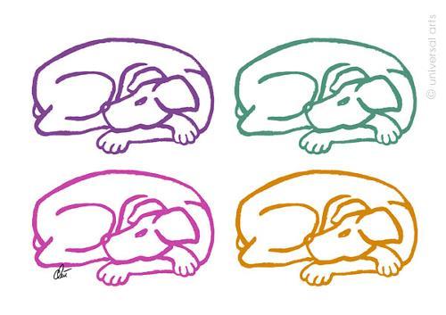 universal arts Jacqueline Ditt & Mario Strack, Varicoloured Dogs  von Jacqueline Ditt, Animals: Land, Miscellaneous Animals, Pop-Art