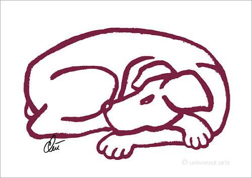 universal arts Jacqueline Ditt & Mario Strack, Dog - Red (Hund - Rot) A2 von Jacqueline Ditt, Animals: Land, Miscellaneous Animals, Pop-Art