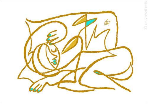 universal arts Jacqueline Ditt & Mario Strack, Or isn't she sleeping ? - golden by Jacqueline Ditt, People, Erotic motifs: Female nudes, Pop-Art