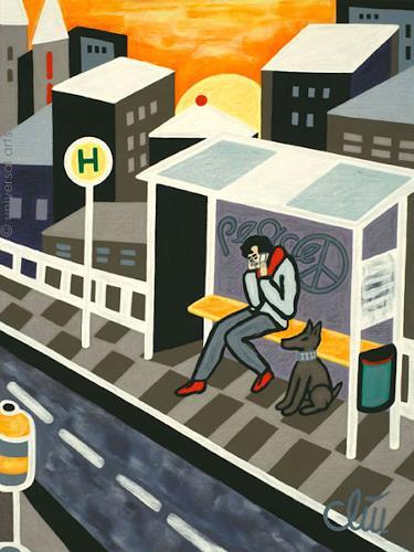 universal arts Jacqueline Ditt & Mario Strack, Bus Stop by Jacqueline Ditt, People: Men, Animals: Land, Pop-Art