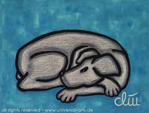 universal arts Jacqueline Ditt & Mario Strack, Hund auf blauem Grund von Jacqueline Ditt, Animals: Land, Miscellaneous Animals, Expressionism
