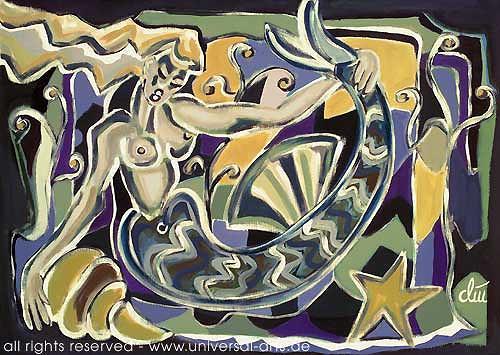 universal arts Jacqueline Ditt & Mario Strack, Fisherman's Girlfriend von Jacqueline Ditt, Mythology, Erotic motifs: Female nudes, Expressionism
